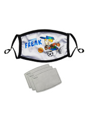 Washable Men Adult Reusable Adjustable Face Mask with 3 Filters - Sports Freak - White