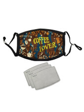 Washable Unisex Men Women Adult Reusable Adjustable Face Mask with 3 Filters - Coffee Lover - Brown Cafe Latte Aroma