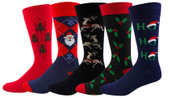 Men's Assorted Christmas Holiday Socks 5 Pair Pack