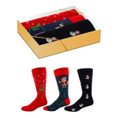 3 Pais of Men's Reindeer, Snowmen and Santa Crew Novelty Socks Gift Box Set