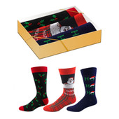 3 Pairs of Men's Santa and Hollies Crew Novelty Socks Gift Box Set