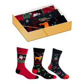 3 Pairs of Men's Christmas Drink and Dogs Crew Novelty Socks Gift Box Set