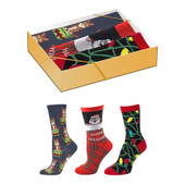 3 Pairs of Women's Santa, Cats and Light Crew Novelty Socks Gift Box Set
