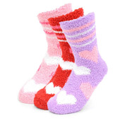 3 Pairs of Women's Valentine's Day Assorted Pack Heart Warm Fuzzy Socks