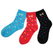 3 Pairs of Women's Valentine's Day Assorted Pack Hearts Crew Cotton Blend Socks