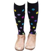 Large Dots Designed Cotton Blend Anti-Microbial Anti-Odor Knee-High Compression Socks - Black