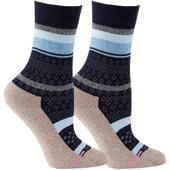 2 pack Multi Stripe Designed Super Comfort Top Half Cushion Crew-High Compression Socks - Sailor