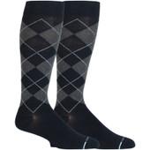 Classic Argyle Designed Knee-High Compression Socks - Black