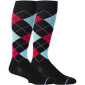 Argyle Designed Knee-High Compression Socks - Black Sky Blue