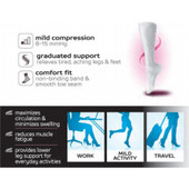 Solid Colored Microfiber Nylon Copper Ion Infused Yarn Knee-High Compression Socks - Grey