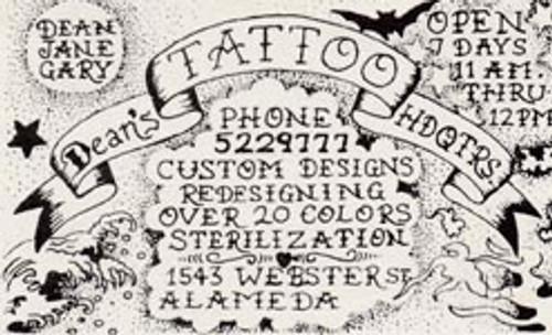 Dean's Tattoo Headquarters Original Business Card