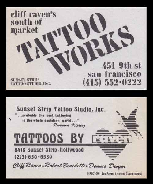 Original Cilf Raven Tattoo Works Business Card