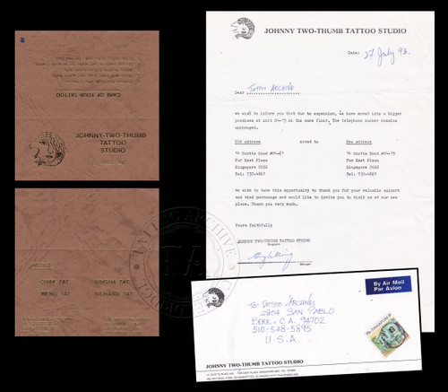 Original Johnny Two Thumbs Business Card & Letterhead