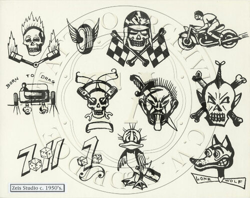 Black & White sheet of hot rod designs from the Zeis Studio in Rockford, IL, 1950s.  11 x 13.5