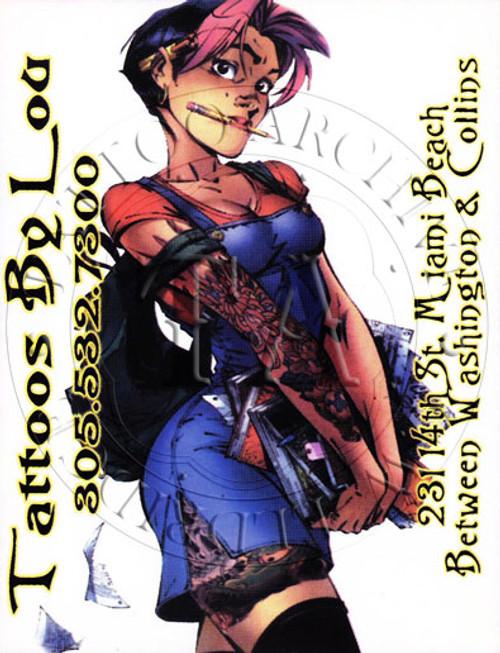 Promo card with tattooed school girl. 4 x 6