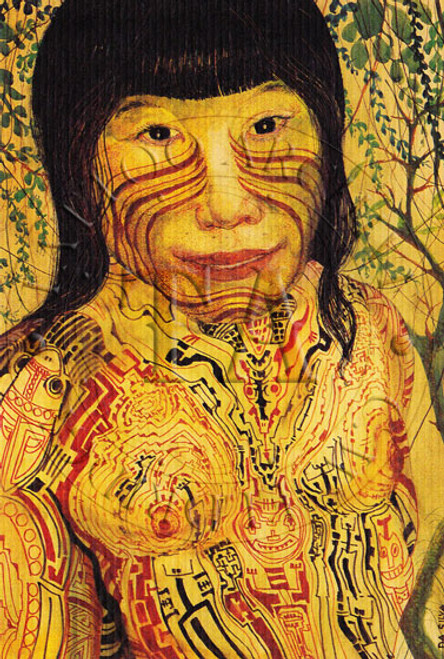 Color art work by Sebastiao Da Silva shows tribesman of the extinct Marajoara Civilization. 4 x 6