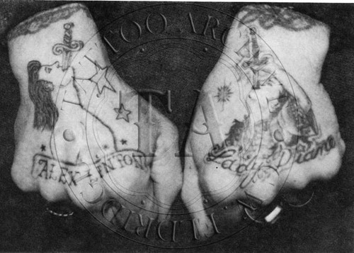 Black & White card showing the tattooed hands of this famous sword swallower. Tattooed by Chinchilla and Mr. G. 5 x 4