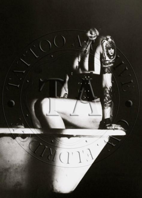 Tattooed Woman & Bathtub Poster