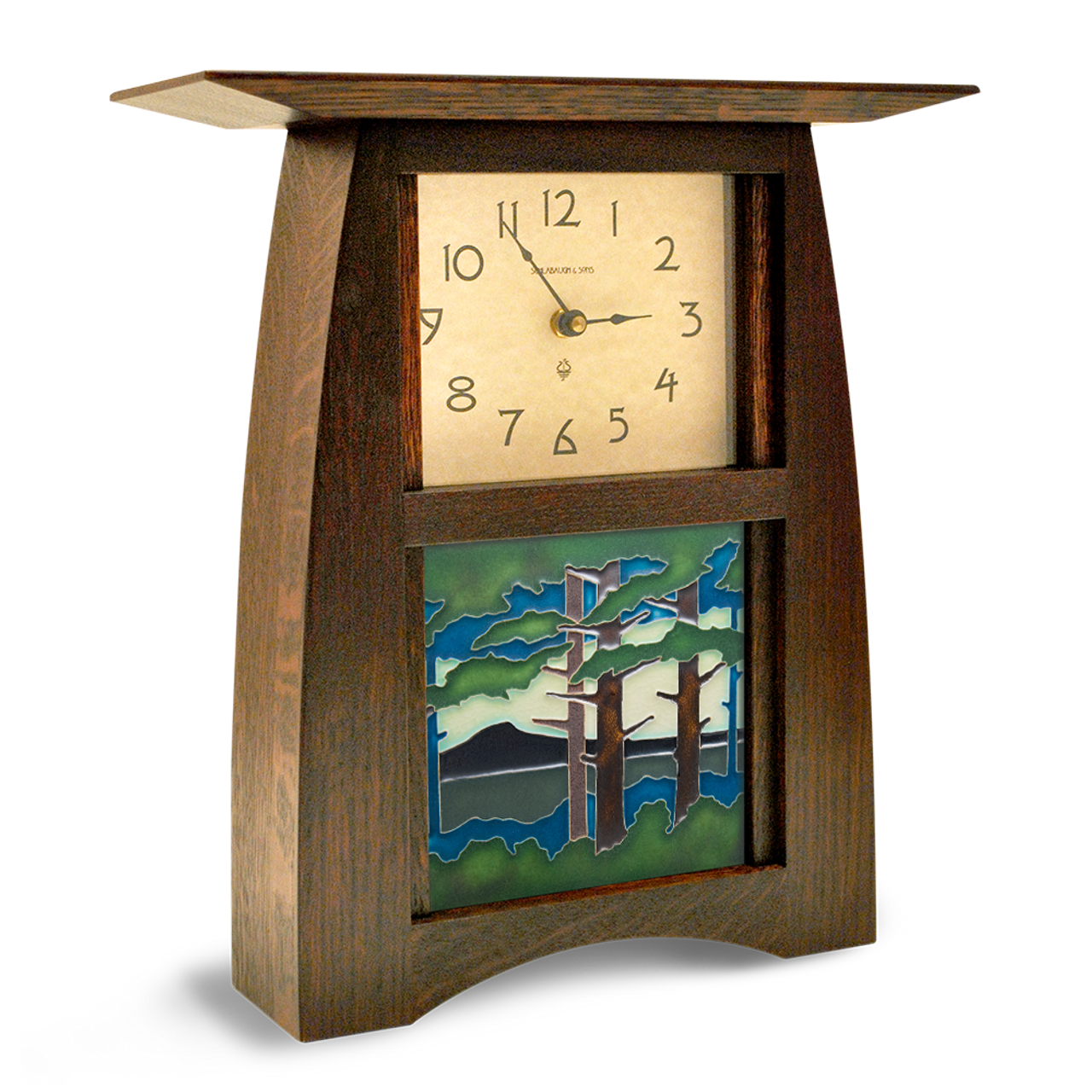 Arts And Crafts Tile Clock With Landscape Art Tile Act 66