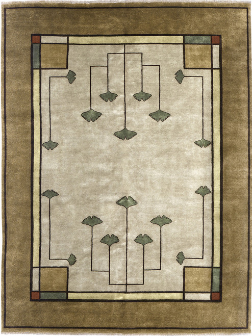 The Ginkgo Rug PC-21A is our best seller and is available in a variety if sizes.  100% wool, Hand knotted.
