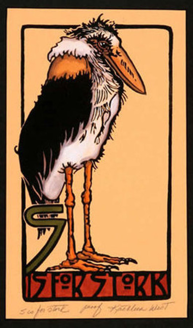 S is for Stork Print
