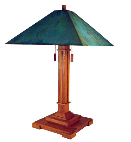 The Pasadena shown in Cherry and green copper patina shade
