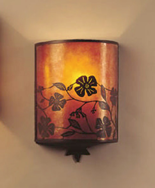 The Mica Lamp Company Mica Lantern Wall Sconce with Floral Filligree