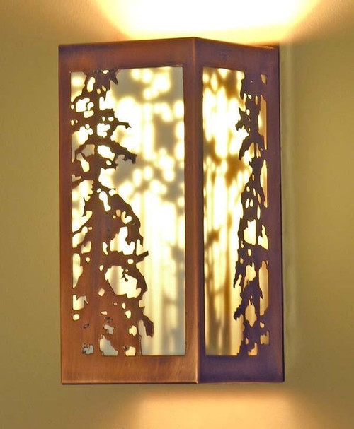 Shadow Sconce with Pine tree design