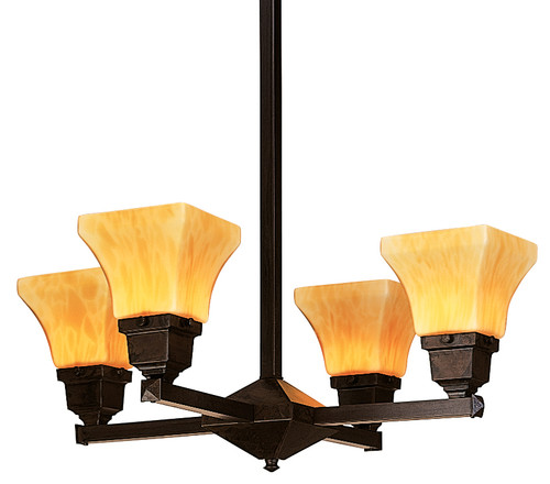 Ruskin RCH-4U with four mustard art glass shades