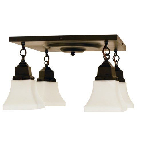 Ruskin 4 Light Ceiling Mount with Art Glass Shades RCM-4