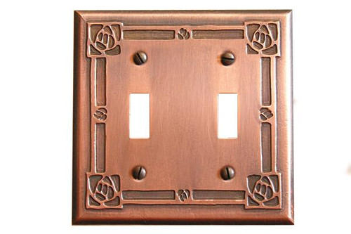Bungalow Rose Double Toggle Copper Switchplate