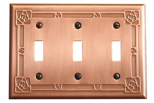 Bungalow Rose Triple Toggle Copper Switchplate