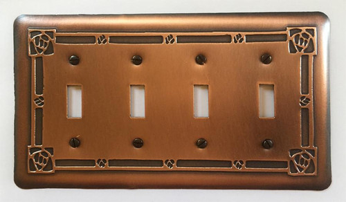 Bungalow Rose Quadruple Toggle Copper Switchplate