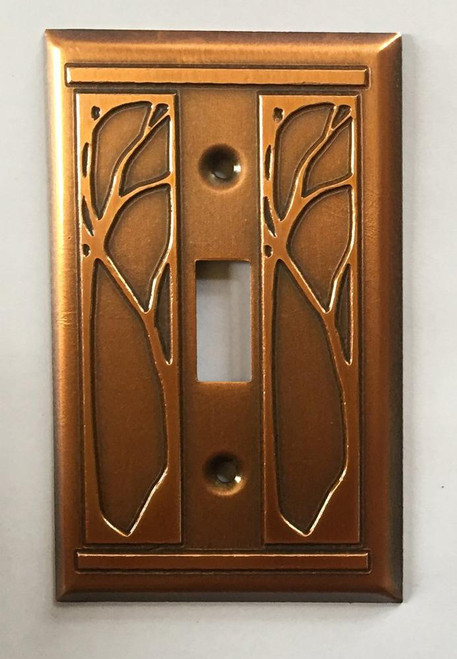 Art Nouveau Single Toggle Copper Switchplate