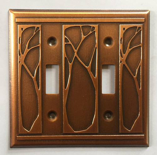 Art Nouveau Double Toggle Copper Switchplate