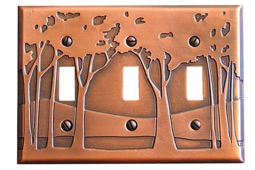 Landscape Triple Toggle Copper Switchplate
