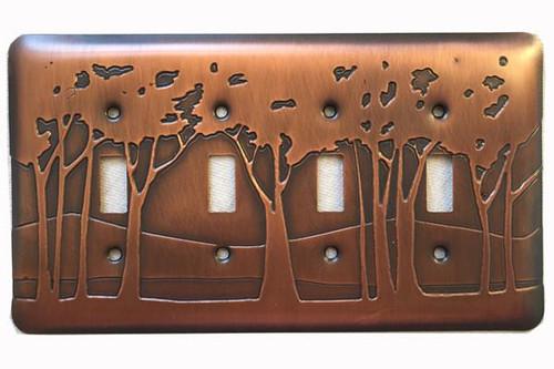 Landscape Quadruple Toggle Copper Switchplate