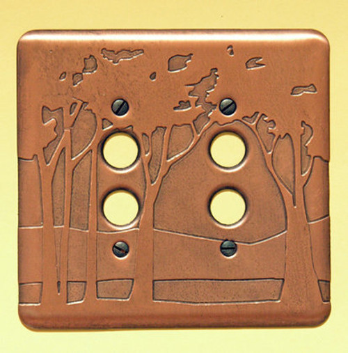 Landscape Double Push Button Copper Switchplate