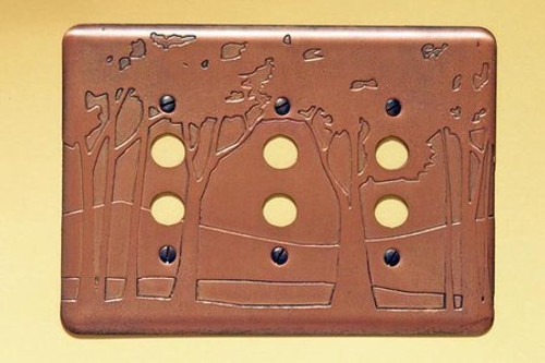 Landscape Triple Push Button Copper Switchplate