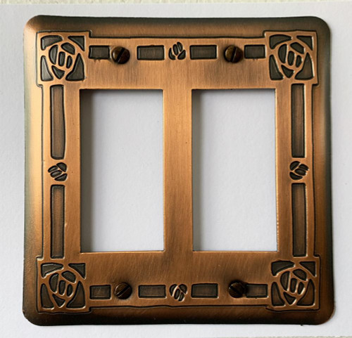 Bungalow Rose Double GFI Copper Switchplate Cover