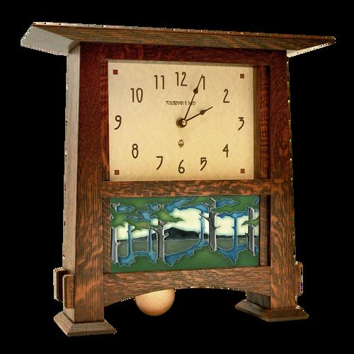 Craftsman Horizontal Tile Clock with 4x8 Landscape Tile