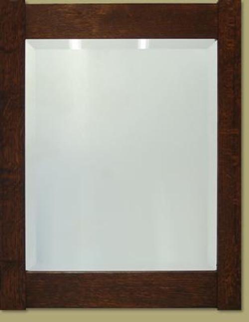 Framed Oak Beveled Mirror