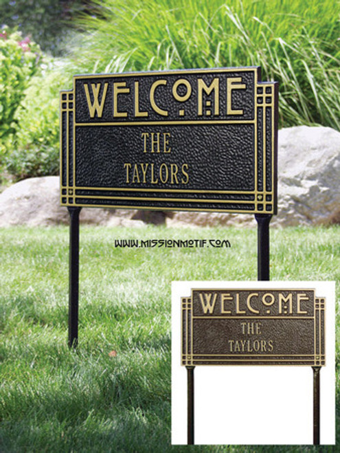 Arts and Crafts Welcome Lawn Plaque