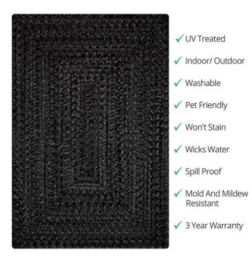 Black Outdoor Rug Features