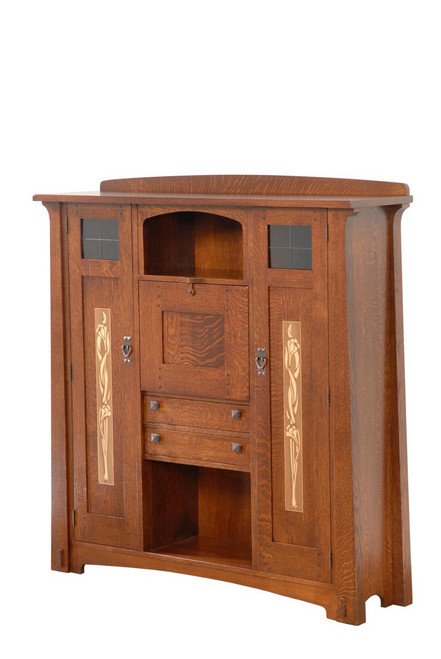 Fall Front Bookcase with Inlay Doors