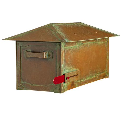 Craftsman Roof Solid Brass Post Mount Mailbox AF-520