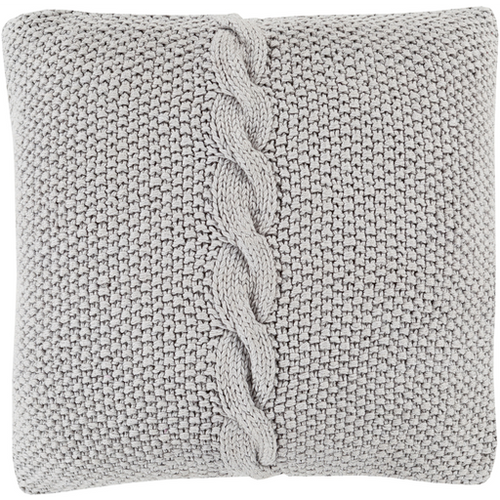 Medium Grey Knitted Pillow with Braid