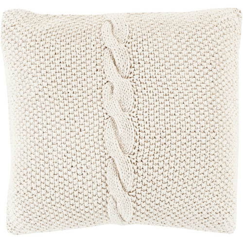 Khaki Knitted Pillow with Braid