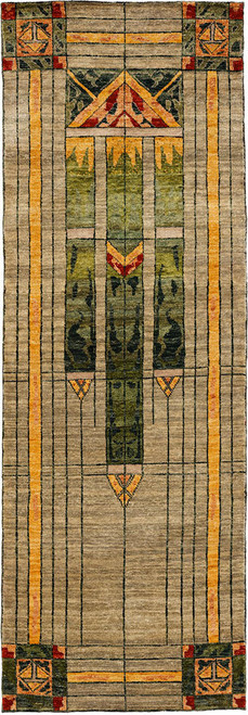 Stained Glass Green Hall runner Rug