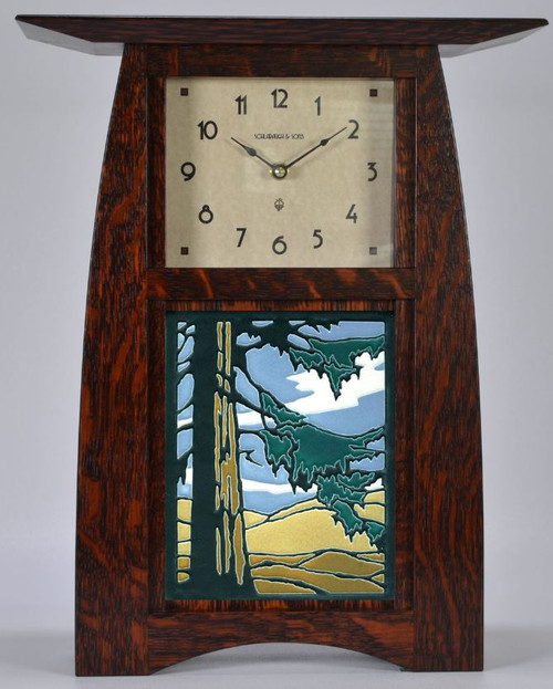 Arts & Crafts 6 X 8 Motawi Redwood Tile Clock ACT-68-CO